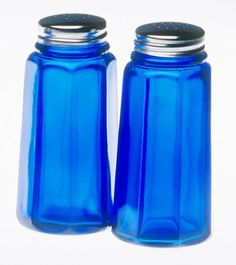 Mosser colbalt glass salt and pepper shakers