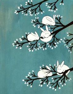 Rabbits on Marshmallow Tree by Kristiana Pär.