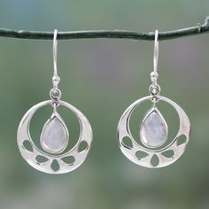 Novica Sterling silver dangle earrings, Luscious Green - Green Onyx Earrings in Sterling Silver Handmade in India