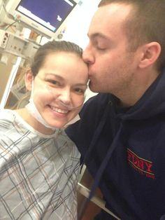 Katy Starck Mone takes a selfie with her husband, Joe, before her life-saving double lung transplant. The woman behind the #oomphforkaty campaign finally went home on Monday after spending the last three months in the hospital.