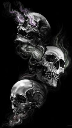 Black Wallpaper Skull Badass Wallpapers For Android 04 40 Three Skulls on Dark Black Background - HD Wallpapers Evil Skull Tattoo, Skull Rose Tattoos, Skull Tattoo Design, Skull Thigh Tattoos, Evil Tattoos, Wallpapers Android, Android Wallpaper Dark, Black Wallpaper Iphone Dark, Awesome Wallpapers For Iphone