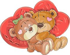 Buy Couple of Brown Teddy Embracing by vectorpocket on GraphicRiver. Vector illustration of a couple of brown teddy bears lying embracing on red heart shaped pillows. Cartoon Clip, Bear Cartoon, Cartoon Drawings, Cute Cartoon, Teddy Bear With Heart, Brown Teddy Bear, Teddy Bears, Tatty Teddy, Urso Bear