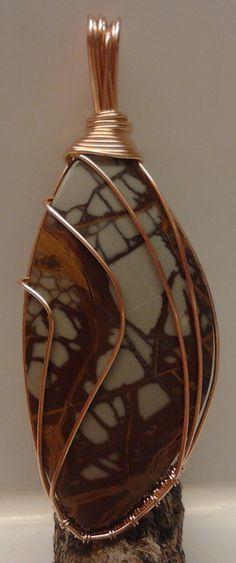 Noreena Jasper and copper by Annukka's Wearable Art Jewelry Box, Jewelery, Wire Pendant, Pendant Design, Wearable Art, Wire Wrapping, Jasper, Minerals, Beading