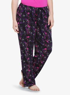 A print of Hello Kitty and stars adds some cosmic cuteness to these super soft black knit sleep pants. For matching top, search SKU 10073118.