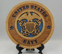 """Laser engraved 7-1/2"""" US Navy desktop plaque."""