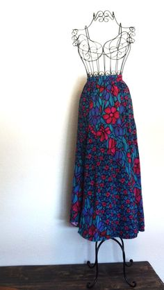 Bold Stained Glass Floral Prismatic Print Maxi Skirt by RowdyRunts, $22.00