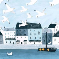 Padstow Seagulls Canvas Art by Hannah Tolson, features a friendly flock of seagulls flying over padstow harbour. Meer Illustration, Building Illustration, Children's Book Illustration, Naive Art, Beach Scenes, Grafik Design, Illustrations And Posters, Illustrators, Doodles