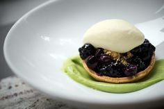 -blueberry tart with a sweet corn shell. Topped with corn ice cream ...