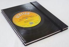 Notizbuch aus Schallplatte Warlock  upcycling von VinylKunst Aurum - Schallplatten Upcycling der besonderen ART auf DaWanda.com