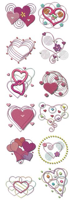 "Popular Embroidery Designs Part of our popular ""Dots n Doodles"" series, Hearts n Doodles is a fantastic whimsical set that is great for Valentine's Day, or any day! Embroidery Hearts, Learn Embroidery, Embroidery Files, Embroidery Stitches, Hand Embroidery, Brother Embroidery Machine, Sewing Machine Embroidery, Machine Quilting, Machine Applique"