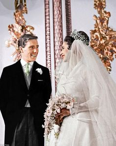 Look of love! Anthony Armstrong-Jones and Princess Margaret exchange joyful smiles after t...