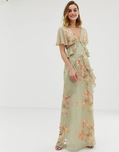 Hope & Ivy | Hope & Ivy ruffle floaty maxi dress with open back in sage green floral