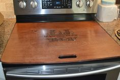 Classy-n-Sassy Stove / Range top cover with Ginger Stain Antiqued artwork, subtle, beautiful, very classy! Kitchen Hutch, Diy Kitchen, Kitchen Ideas, Stove Top Cover, Stove Covers, Stove Board, Noodle Board, Butcher Block Countertops, Oven Range