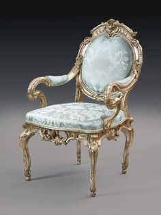 A German Rococo Silvered Armchair, Attributed to Johann August Nahl, Potsdam, circa Baroque Furniture, French Furniture, Classic Furniture, Luxury Furniture, Home Furniture, Furniture Design, French Rococo, Rococo Style, Antique Chairs