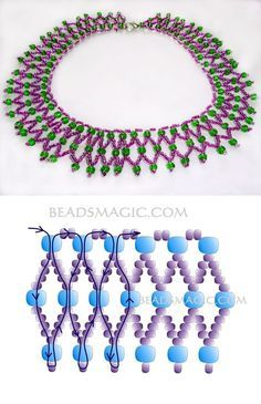 Free pattern for beaded necklace Laura. Its simple but pretty pattern, good for begginers Bead Jewellery, Jewelry Making Beads, Jewelry Necklaces, Crystal Jewelry, Jewelry Findings, Beading Projects, Beading Tutorials, Bead Crafts, Jewelry Crafts