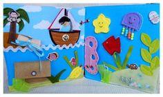 Quiet book - more, sea, poklad, lodka, mapa, pirat