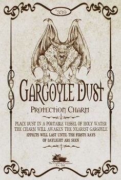 Gargoyle Dust Label by a_granger Halloween Apothecary Labels, Halloween Bottle Labels, Apothecary Jars, Vintage Halloween, Happy Halloween, Halloween Potions, Holidays Halloween, Halloween Party, Halloween Decorations