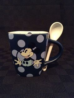 Disney Parks Polka Dots Mickey Mouse With Spoon Ceramic Coffee Cup Mug #WaltDisney