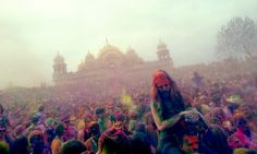 Holi Festival of Colors at the Krishna Temple