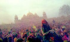 Holi Festival of Colors at the Krishna Temple