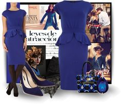"""""""Black and Blue and Peplum..Oh my!!"""" by bb60477 ❤ liked on Polyvore"""