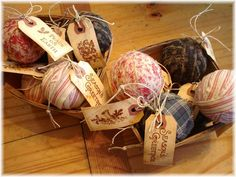 Prim idea using homespun fabrics ~ The Feathered Nest ~: Rag Ball Ornament Tutorial ~ Easy Ornaments, Handmade Ornaments, Diy Christmas Ornaments, Christmas Projects, Holiday Crafts, Christmas Ideas, Fabric Ornaments, Holiday Ideas, Christmas Decor