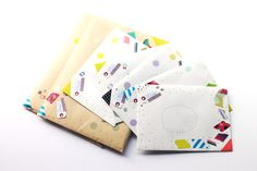Simple easy eclectic, effective! Envelope design, washi tape, dots, addressing for happy mail.