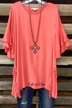 """Product Details - 68% Rayon 32% Polyester - 32"""" Shoulder to Hem - Lined - Double Ruffle Hem - Brooke Wearing Large - 30/32""""."""