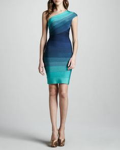 One-Shoulder Ombre Bandage Dress by Herve Leger at Bergdorf Goodman.