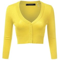 JJ Perfection Women's Solid Woven Button Down 3/4 Sleeve Cropped... ($14) ❤ liked on Polyvore featuring tops, cardigans, yellow cropped cardigan, yellow crop top, 3/4 length sleeve tops, woven top and 3/4 sleeve cardigan