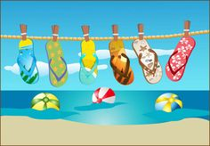 Grab This Free Summer Clipart and Celebrate: Flip Flops Hanging On A Line