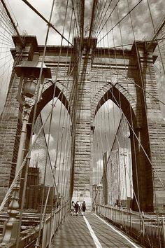 Brooklyn Bridge - New York City. In sepia.