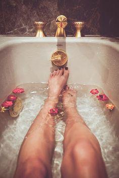 Any number of these are good in the bath :  milk  honey  wheat germ  oats  e-oil  tea tree oil  green tea  ginger  herbs  lavender  sage  citrus  baking soda  apple cider vinegar  sea salts  Epsom salt #Detox