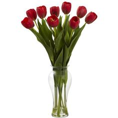 24in Tulips W/Vase Artificial Flower Arrangement