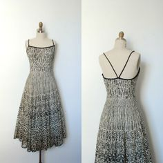 Vintage 1950s Black and White Lace Dress Party Dress