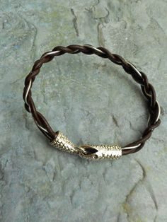 #CustomMade #Homemade brown leather #bracelet / Antique Python snake clasp closure by Liesbeth Visscher at JHFWBeadsAndFindings on #Etsy #jewelry #jewelery #handmade #braided #leather