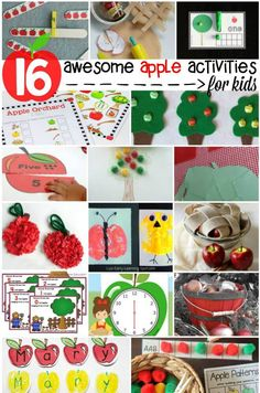 16 awesome apple activities for kids. tons of stuff! Preschool Apple Theme, Apple Activities, Counting Activities, Name Activities, Autumn Activities, Math Games, Activities For Kids, Preschool Apples, Apple Games