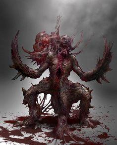 ArtStation - Necromorph redesign, Ryan Howell Monster Concept Art, Fantasy Monster, Monster Art, Cool Monsters, Horror Monsters, Arte Horror, Horror Art, Weird Creatures, Fantasy Creatures