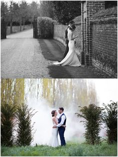 bride and groom with smoke bomb background