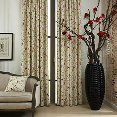 """twopages Country Flower on Stem Print Polyester/Cotton Blend Grommet Top Eco friendly Curtain 50Wx63""""L (One Panel) Multi Size Available Custom 63/84/96/102 Inch Length twopages curtain http://www.amazon.com/dp/B00MTVIPFU/ref=cm_sw_r_pi_dp_9KI7ub0623BAD"""