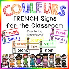 Super, cute color posters for 11 different colors all in FRENCH. Excellent reference signs for your students and easy to print for you!There are posters for alternate spellings of the colors brown and purple. There are also 2 different sized posters for Core French, French Class, French Lessons, French Teaching Resources, Teaching French, How To Speak French, Learn French, Color Posters, French Course