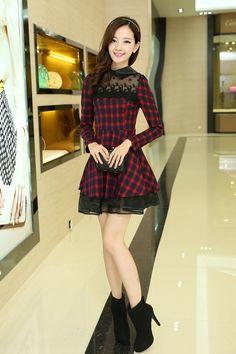 DR000455 Long sleeve high waist plaid lace autumn dress