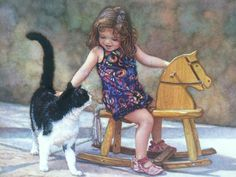 Steve Hanks - 'Roundin' Up The Stray' - cat art Portrait Art, Portraits, Illustrations, Illustration Art, She And Her Cat, Amor Animal, Drawing Sketches, Drawings, Watercolor Artists