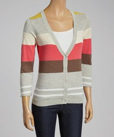 Love this Gold Linen-Blend Cardigan by Laurie b. on #zulily! #zulilyfinds