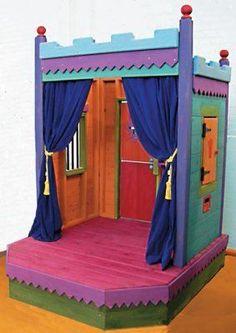 Slideshow       Kid's Theater is both a Theater and a Playhouse.  Draw the curtains and create a Playhouse with Dutch door and shuttered window.  Open the curtains and the Stage is set for a grand performance.