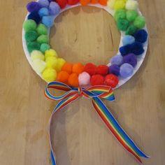 Pom Pom rainbow wreath