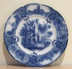 Antique Wedgwood Flow Blue Abraham Lincoln Dinner Plate