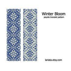 Winter Bloom  Peyote Bracelet Pattern  INSTANT DOWNLOAD by lariata