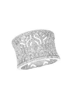 Effy Pave Classica 14K White Gold Diamond Maze Ring, 0.79 TCW