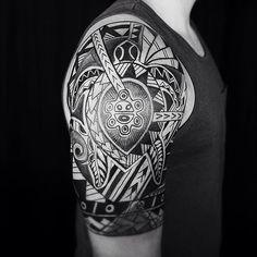 Welcome 2015 #polynesiantattoo #miamitattoo #wynwoodartdistrict #javieracero #love Taino Tattoos, Tribal Tattoos, Miami Tattoo, Tribal Sleeve, Future Tattoos, Tatting, Body Art, Half Sleeves, Puerto Rico